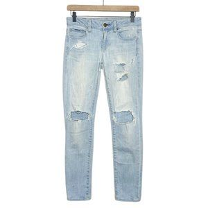 AE Distressed Bleach Washed Stretch Skinny Jeans